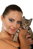 Pretty woman hold her lovely cat — Stock Photo
