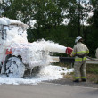 Firefighters  with foam extinguish a burning bus - Stock Photo