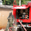 Firefighters in chemical protection suit — Stockfoto