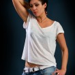 Girl with short hair wearing a white t-shirt — Stock Photo #38556205