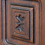 Fragment beautiful carved brown wooden door — Stock Photo #48308931