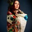 Young attractive retro model in old-fashioned wild clothing danc — Stock Photo #51119819
