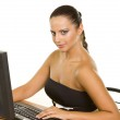 Pretty business woman at office desk — Stock Photo #6471145
