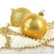 Christmas golden baubles with beads — Stock Photo