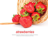 Strawberries in basket & text — Foto de Stock