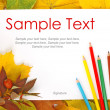 Leaves, paper and pencils & text — Stock Photo