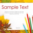 Stock Photo: Leaves, paper and pencils & text