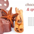 Chocolate sweets and spice & text — Stock Photo #16289147