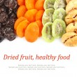 Dried fruits assortment & text — Stock Photo #16289163