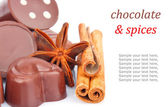 Chocolate sweets and spice & text — Stock Photo