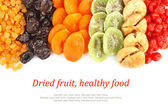 Dried fruits assortment & text — Stock Photo