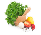 Parsley in mortar — Stock Photo