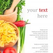 Pasta in bowl and vegetable & text — Stock Photo