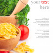 Pastin bowl and vegetable & text — Stock Photo #20813167