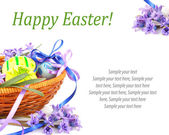 Easter eggs with flowers & text — 图库照片