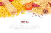 Different types of pasta & spices — Stock Photo