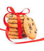 Stack of cookies & ribbon — Stock Photo
