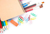 Notebook & pencils — Stock Photo