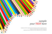Collection of colored pencils & text — Stock Photo
