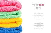 Bath towels & text — Stock Photo