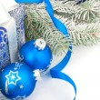 Christmas still life in blue — Stock Photo