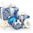 Christmas accessories in blue — Stock Photo