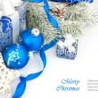 Christmas still life in blue — Stock Photo #33031493