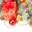 Christmas still life in red — Stock Photo