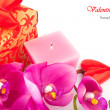 Gift with orchid — Stock Photo