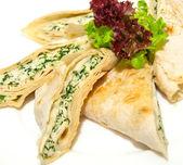 Grilled pita with feta — Stock Photo