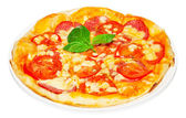Pizza with salami — Stock Photo