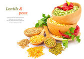 Lentil bean in wooden plate with spice food photo — Stock Photo