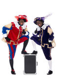 Zwarte Piet and his co-worker — Stock Photo