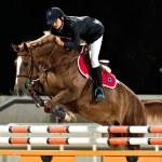 Female rider participates in horse jumping — Stock Photo