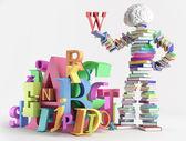Buch mensch und zeichen — Stockfoto