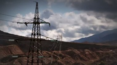 Electric transmission line — Stock Video