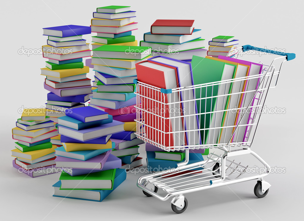 Stacks of colorful books next to a shopping cart — Stock Photo #13293047