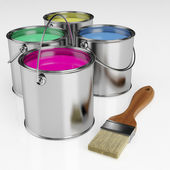 Cans of paint and a brush — Stock Photo
