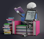E knihy člověk čte — Stock fotografie