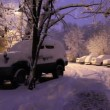 Snow-covered parking lot — Vídeo de stock