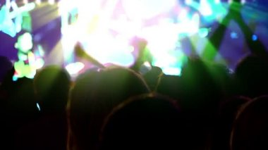 Crowd in front of the stage at a concert — Stock Video