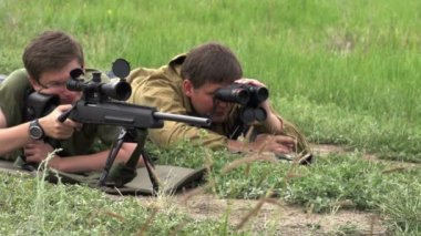 Sniper Makes Shot — Stock Video