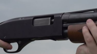 Empty case of hunting rifle — Stock Video