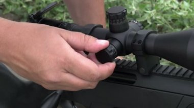 Configuring Rifle Scope — Stock Video