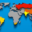 Stock Photo: Political map BRICS Brazil China Russia India South AFrica