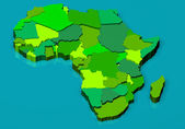 Political map of Africa 3D — Stock Photo