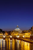 St. Peter's cathedral at night, Rome — Stock Photo