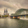 Cologne Cathedral and Hohenzollern Bridge, Germany — Stock Photo #13266541