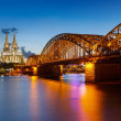 Cologne Cathedral and Hohenzollern Bridge, Germany — Stock Photo #13610029