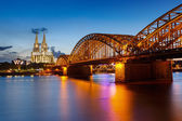 Cologne Cathedral and Hohenzollern Bridge, Germany — Stock Photo